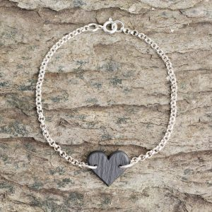 Medium Textured Heart Bracelet